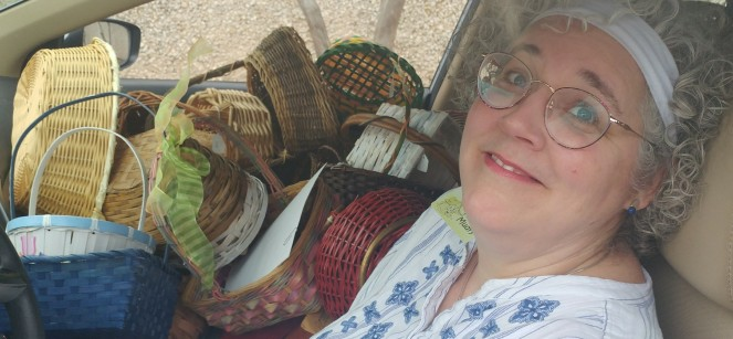 In Car with baskets